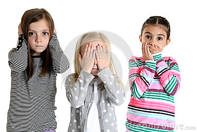 Cute girls acting out hear see and speak no evil