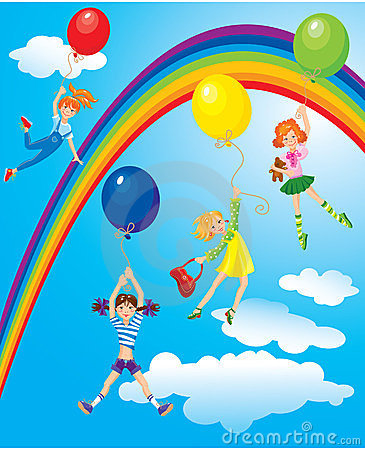 Free Cute Girls Flying Away On Balloons Royalty Free Stock Photography - 23621127