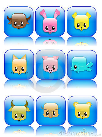 Cute glossy animal icons