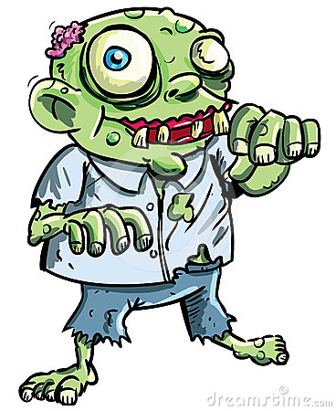 Cute green cartoon zombie