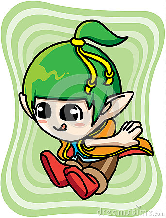 Cute green elf boy