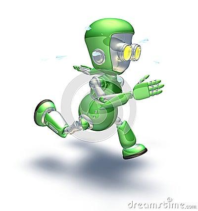 Cute green metal robot character running a sprint