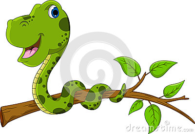 cute green snake cartoon on tree stock photos image