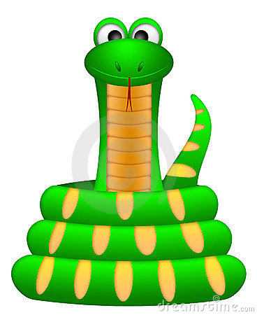 Cute Green Snake Coil Up Illustration