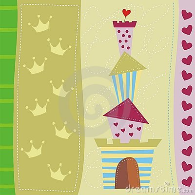 Cute greeting card with castle