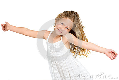 Cute gril with arms wide open.