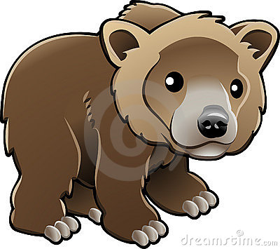 Cute Grizzly Brown Bear Vector