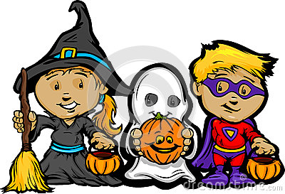 Cute Halloween Kids In Trick or Treat Costumes