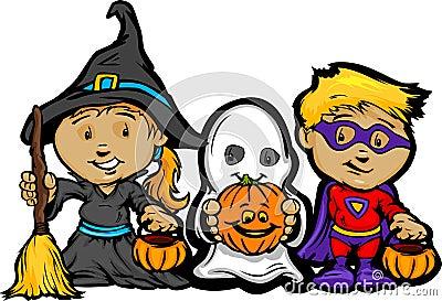Cute Halloween Kids In Trick or Treat Costumes