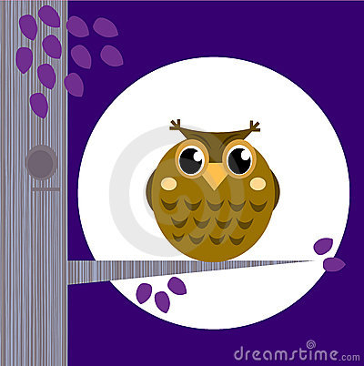 Cute Halloween Owl on Tree Branch with full moon