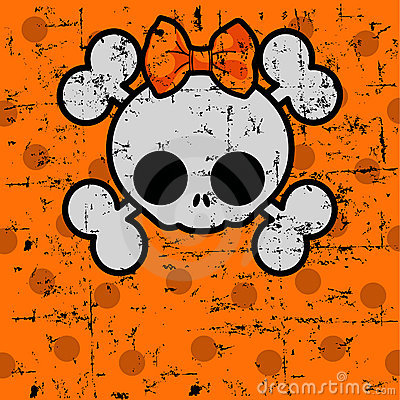 Free Cute Halloween Skull With Bow Royalty Free Stock Photos - 21058578