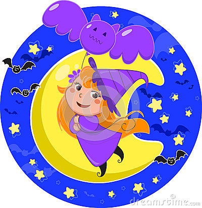 Cute Halloween witch flying with bat balloon