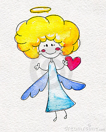 Cute hand-drawn angel with heart in hands