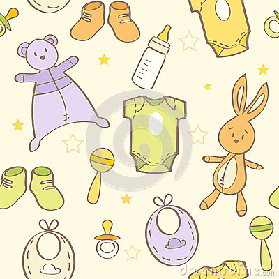Cute hand drawn baby background