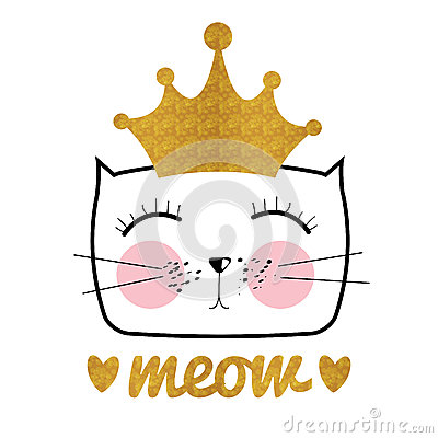 Cute Hand Drawn Cat Vector Illustration. Little Princess with Cr Vector Illustration