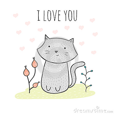 I Love You Quotes Cartoon : ... With A Cat And Flowers. I Love You Card Stock Vector - Image: 75383907