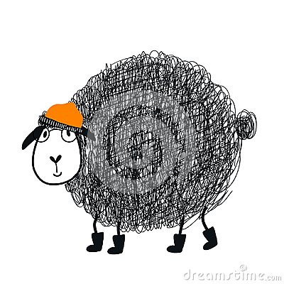 Free Cute Hand Drawn Nursery Poster With Cool Cartoon Sheep Animal Character With Glasses And A Cap. Stock Image - 121975971