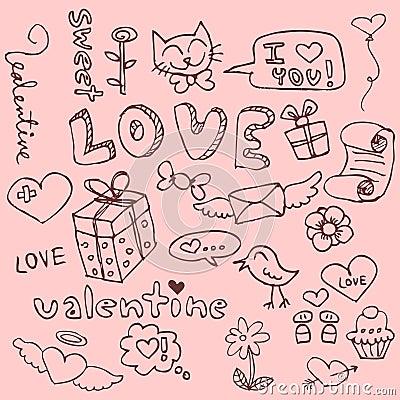Free Cute Hand Drawn Romantic Things Stock Photos - 27208923