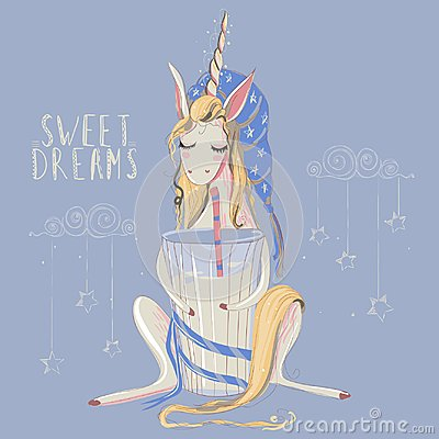 Free Cute Hand Drawn Unicorn Dreaming With Big Glass Of Milk With Striped Straw And Blue Sleeping Hat Royalty Free Stock Images - 105642839