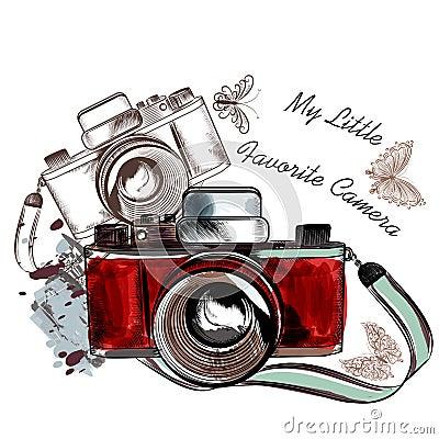 Free Cute Hand Drawn Vintage Camera Vector Illustration Stock Image - 65891381