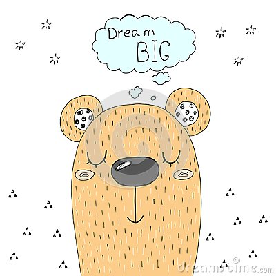 Free Cute Hand Drawn With Sketch Doodle Bear Print. Royalty Free Stock Photos - 116889698