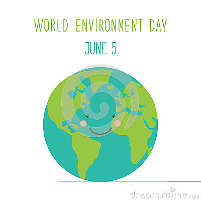 Free Cute Hand Drawn World Environment Day Card With Smiling Character Of The Planet Earth Royalty Free Stock Photo - 90039975