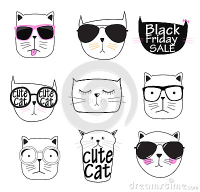 Cute Handdrawn Cat Set Vector Illustration Vector Illustration