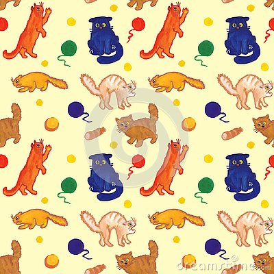 Seamless hand drawn pattern for cat lovers and kids Stock Photo
