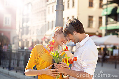 Cute hansome couple on date