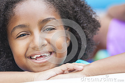 Cute Happy African American Girl Smiling