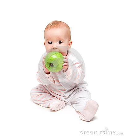 Free Cute Happy Baby Eats Fruit Green Apple Isolated Royalty Free Stock Photos - 30917468