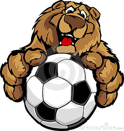 Cute Happy Bear Mascot with Soccer Ball