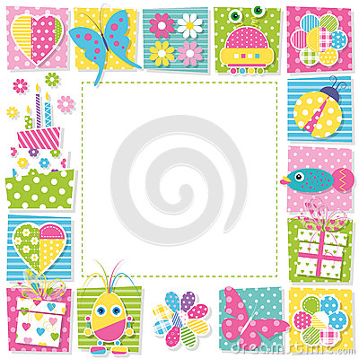 Free Cute Happy Birthday Border Royalty Free Stock Photo - 48905585