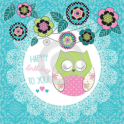 Free Cute Happy Birthday Owl Illustration Royalty Free Stock Photo - 36720675
