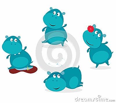 Cute happy blue hippopotamus in four poses