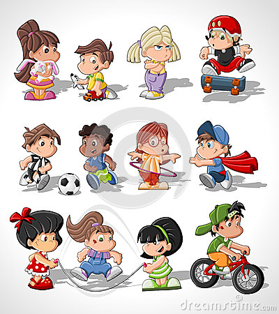 Free Cute Happy Cartoon Kids Stock Photos - 26695423
