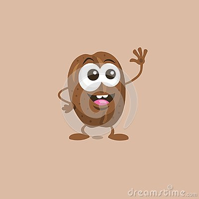 Free Cute Happy Coffee Bean Mascot Greeting Someone With Big Smile Stock Photography - 118504662