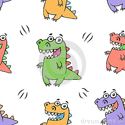 Free Cute Happy Dragon Pattern. Vector Illustration Stock Photography - 116263582