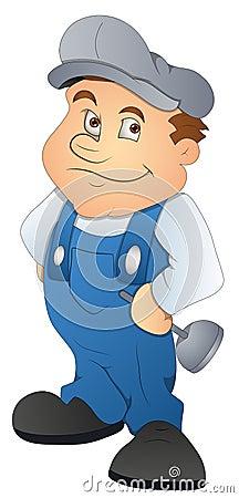 Plumber Cartoon Character Vector Illustration Royalty