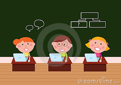 Cute happy kids in classroom with Laptop