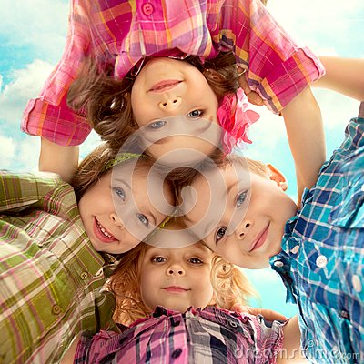 Free Cute Happy Kids Looking Down And Holding Hands Stock Images - 41003224