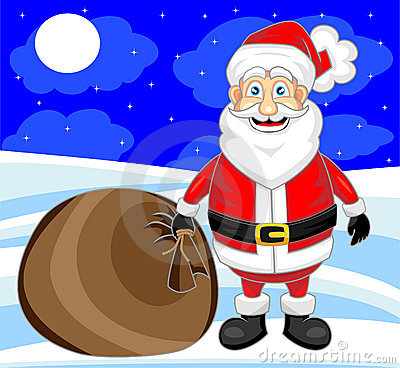 Cute happy looking santa claus with snow backgroun