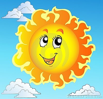Cute happy Sun on blue sky