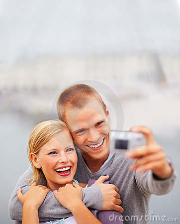 Cute happy young couple self photography