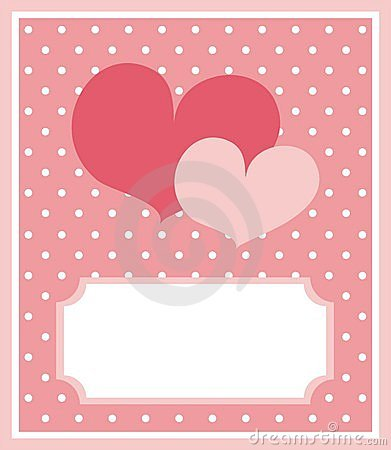 Cute hearts card with dots background