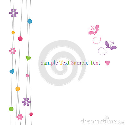 Free Cute Hearts Flowers Dots And Butterflies Greeting Card Royalty Free Stock Photography - 36114897
