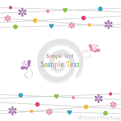 Free Cute Hearts Flowers Dots And Butterflies Greeting Card Royalty Free Stock Photo - 36114905