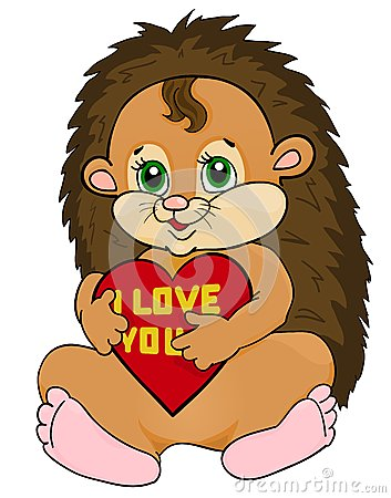 Cute hedgehog holding red heart with the words I love you. Postcard to the Valentine s Day and Mother s Day