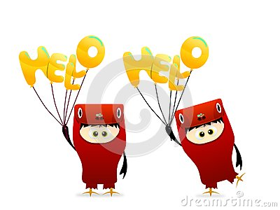 Cute hello Character With balloon vector