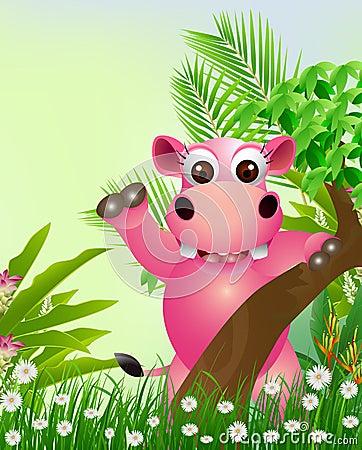 Cute hippo cartoon smiling